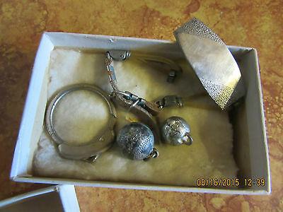 "VINTAGE BOX WITH ""TRINKETS""  ~~POSSIBLY FROM THE 1940'S-?~~LOT OF 8 + BOX~~"