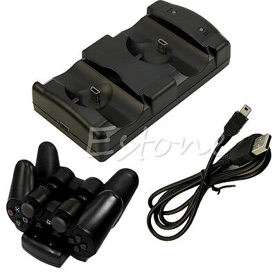 New 2in1 Black USB Charge Double Deck fr PS3 Dual Shock Move Wireless Controller