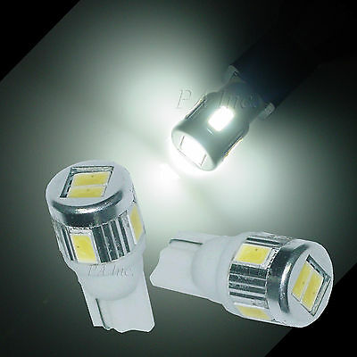 2x 6-5630 SMD LED Parking Light Bulbs 168 2825 Matching HID Xenon White T10
