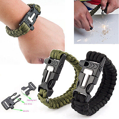 Survival Bracelet Outdoor Scraper Whistle Flint Fire Starter Gear Kits