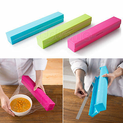 New Plastic Kitchen Foil And Cling Film Wrap Dispenser Cutter Storage 3 Color