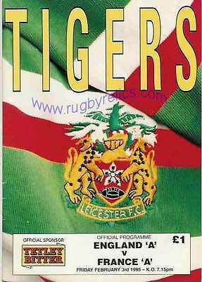 England A v France A 3 Feb 1995 Leicester RUGBY PROGRAMME