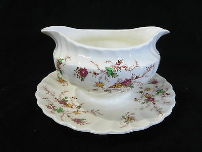 Myott Heritage Red & Yellow Flowers Gravy Boat Bowl w/ Attached Underplate AS IS