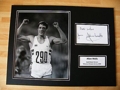 ALLAN WELLS HAND SIGNED AUTOGRAPH 16X12 PHOTO MOUNT OLYMPIC GOLD 100 m & COA