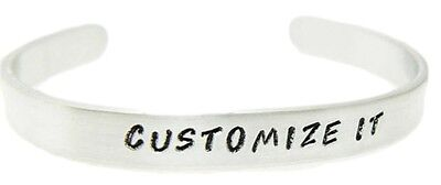 """CUSTOMIZE IT - Hand Stamped 1/4"""" .925 Sterling Silver Cuff Bracelet Personalize"""