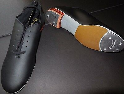 new/box All Leather Jazz tap Oxford Dance Shoes Black Suede sole attched taps