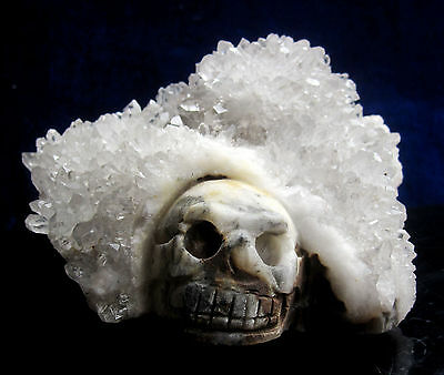 1253g Natural clear Crystal Cluster carving skull Crystal Skull Crystal Healing