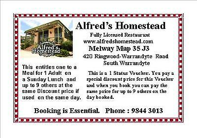 Alfred's Homestead 1 Status Voucher for Sunday Lunch $35 value $50