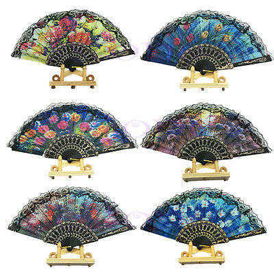 FASHION Vintage Flower Lace Folding Hand Fan Dancing Wedding Party Decor