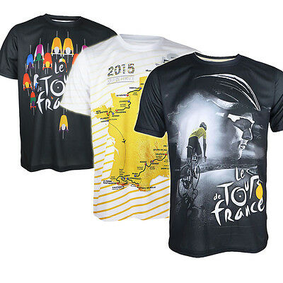 Fashion Mens Tour De France Casual Cycling Tee Quick Dry Loose Fit T-shirt Tops