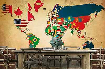 3D Flag World Map Wall Paper Wall Print Decal Wall Deco Indoor wall Murals