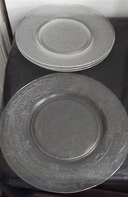 MacBeth-Evans Clear Stippled Rose Band Luncheon Plates Set of 4
