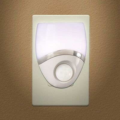 6 Pack - Night Light LED Plug In, Motion Sensor, White & Nickel