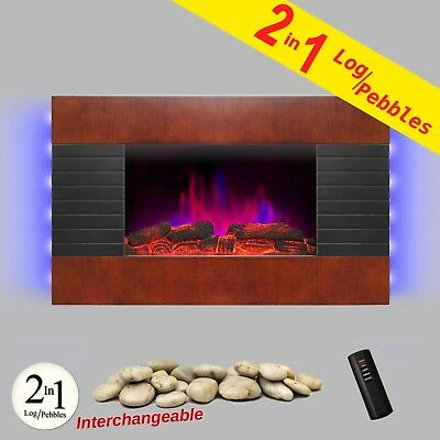 "36"" Curve Tempered Glass Adjustable Electric Fireplace Remote w/ Log Pebble Set"