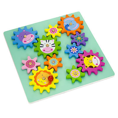 Wooden Spinning Gears & Cogs Puzzle Cute Animal Themed Activity #51031