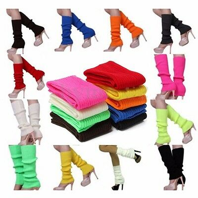 Womens Ladies Party Legwarmers Knitted Neon Dance 80s Costume Leg Warmers