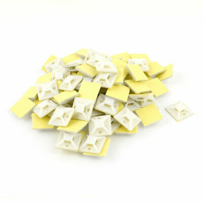 90 Pcs 25mm x 25mm Square White Plastic Self-Adhesive Fixing Wire Tie Mount Base