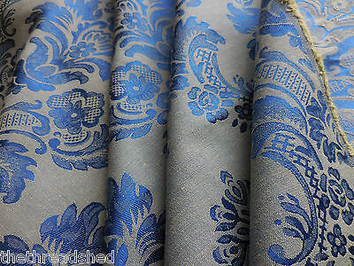Bty Vintage Brocade Upholstery Drapery Fabric Gorgeous Saphire Blue