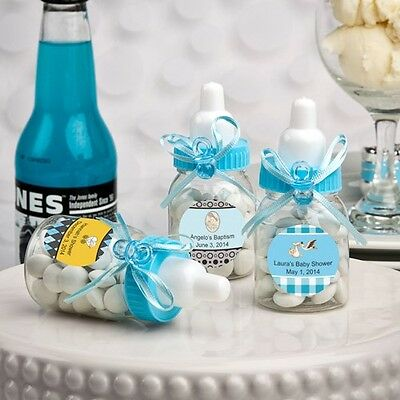 80 Personalized Blue Baby Treat Bottle Shower Gift Favors