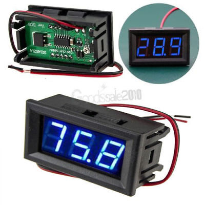 Mini DC 5-120V Voltmeter Blue LED Panel 3-Digital Display Voltage Meter 2-wire