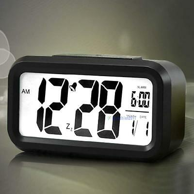 Snooze LED Digital Alarm Clock Thermometer Date Time Night Smart Light LCD B KJ