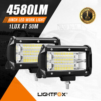 2X 5inch LED Work Driving Light Bar Cree Flood Beam Offroad 4WD Reverse Lamp