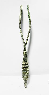 Zurqieh - Beautiful Roman Bronze Tweezers, Large And Decorated, 100 - 200 A.d