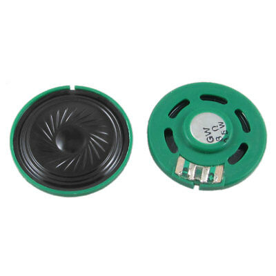 2 Pcs Black Green Plastic Shell 8 Ohm 0.5W 40mm Round Slim Magnet Speakers