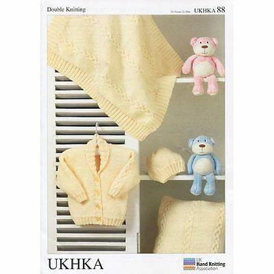 UKHKA double knitting pattern 88 Jacket hat blanket, cushion, 31 - 51cm 12-20""