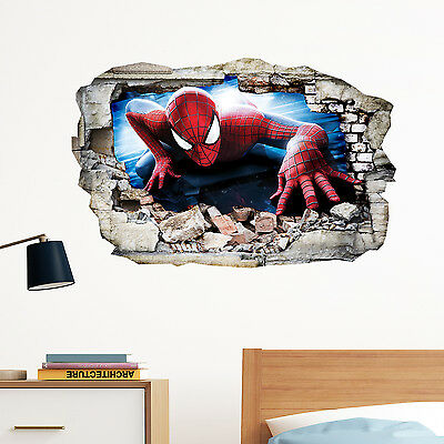Spiderman in Wall Crack SuperHeroes Kids Boy Bedroom Decal Art Sticker Gift New