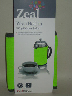 New Zeal Cafetiere Insulated Thermal Heat Wrap Jacket 3 Cup Lime Green C123