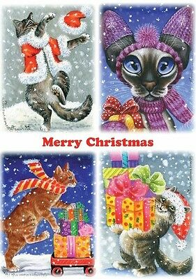 Cat Christmas Card Presents Art by Irina Garmashova