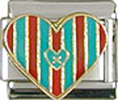 1 Quilted Heart Sewing 9MM NEW Stainless Steel Italian Charm Brand New!