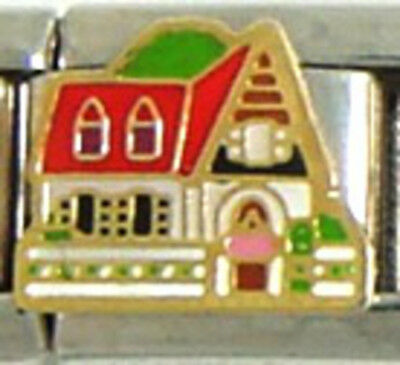 1 Victorian Cottage House 9MM Stainless Steel Italian Charm Brand New!