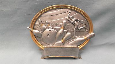 female bowling resin oval plate plaque  trophy small