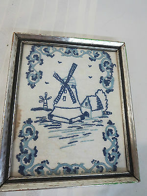 Vintage Embroidered Dutch Windmill Framed Hanging