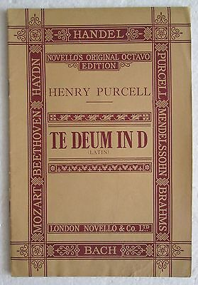 Henry Purcell TE DEUM LAUDAMOS IN D  spartito partitura sheet music 1902 Novello