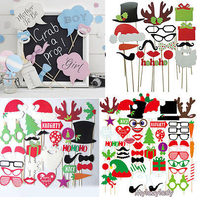Christmas Photo Booth Props Mustache On A Stick Halloween Wedding Party Decor