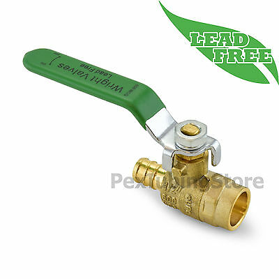 "1/2"" PEX (Crimp) x 1/2"" Sweat Lead-Free Brass Shut-Off Ball Valve, Full Port"