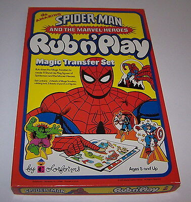 Spider-Man Marvel Heroes Magic Transfer Rub N Play Set Colorforms Unused 1978