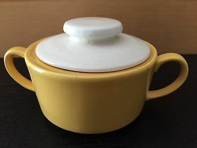 Mount Clemens Pottery MCP Sugar Bowl Yellow with White Lid (1930's)