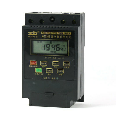 KG316T AC 220V DIN Rail Mounted LCD Display Microcomputer Timer Time Switch