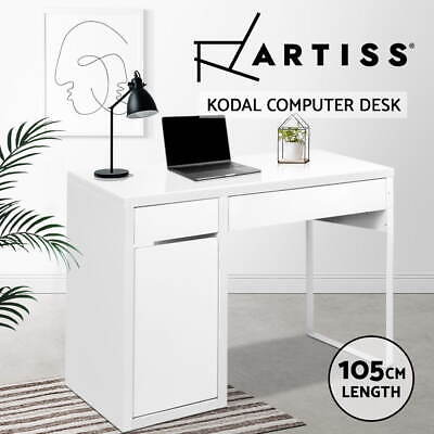 Artiss Office Computer Desk Study Table Home Metal Storage Cabinet White Drawer