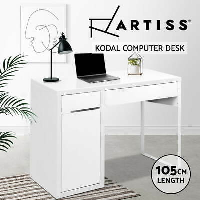 Artiss Office Computer Desk Table Home Metal Storage Cabinet Study White Drawer