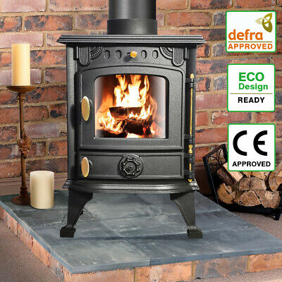 5.5KW Multifuel Woodburner Stove Wood Burning Log Fire Fireplace Cast Iron