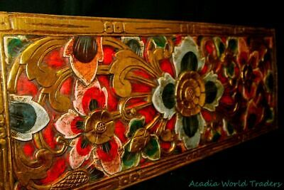 Balinese Lotus Panel Carved Wood Architectural headboard wall sculpture Bali Art