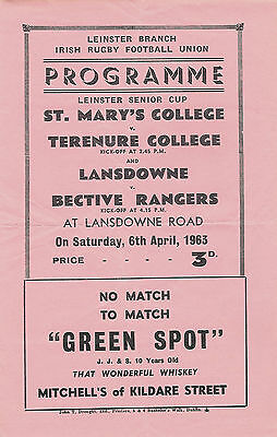 St Mary's College v Terenure College 6 Apr 1963 Lansdowne Rd RUGBY PROGRAMME