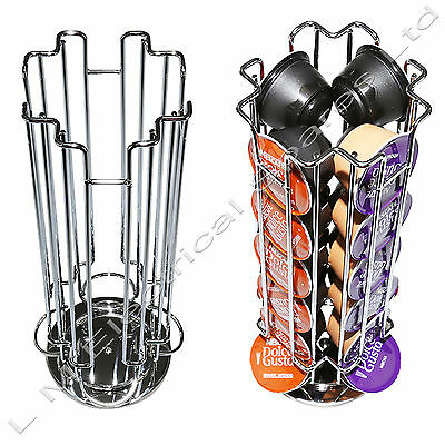 Revolving Rotating 24 Capsule Coffee Pod Holder Tower Stand Rack for Dolce Gusto