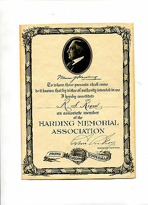 Vintage Certificate PRESIDENT WARREN HARDING Memorial Association