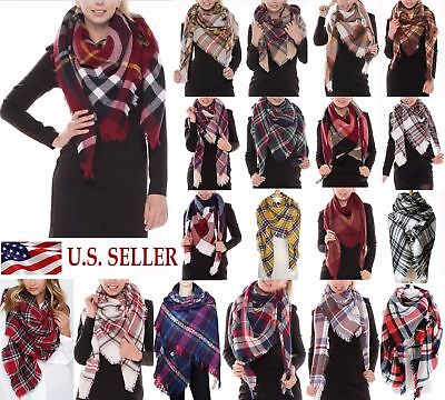 US SELL Women Blanket Oversized Tartan Big Long Scarf Wrap Shawl Pashmina Stole